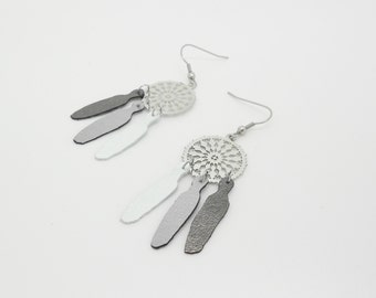 Kit diy earrings prints and feathers faux leather style dreamcatcher