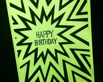 Happy Birthday Card with stars, spikes