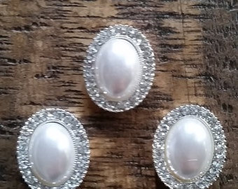 Large Pearl and Rhinestone Oval Jewelry Beading - Set of 3