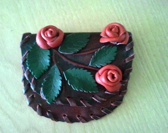 Leather purse with roses, Christmas gift, Gift for her, Handmade.