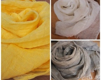 Many Colors Linen Scarf, Eco Scarf, Natural Scarf, Scarf, Warm Gift