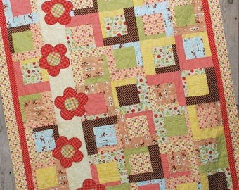 "Flower Trail Quilt Pattern - Made with Layer Cake or 10"" squares"