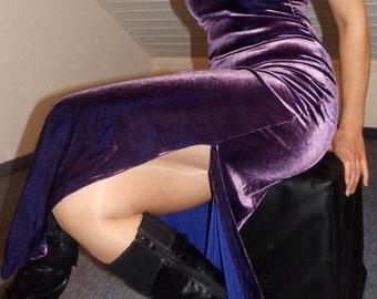 shiny purple velvet dress pinafore dress made of velvet purple shiny