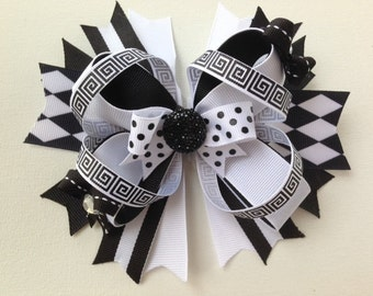 Black and White 6in Boutique Bow OTT