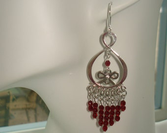 Red Garnet Earrings with Bow