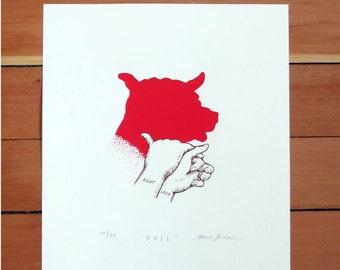 Bull Shadow Puppet   bull art, bull print, bull artwork