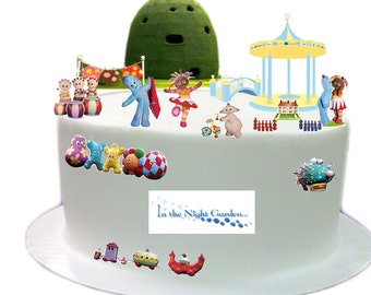 Stand Up In The Night Garden Scene made from Fully Edible Premium Wafer Paper - Cake Topper Decoration