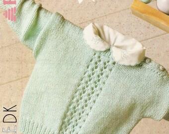Car Motif Baby Knitting Pattern Babies Sweater with Intarsia