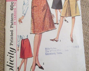 Vintage 1960's Simplicity Sewing Pattern 6091 Misses Set of Skirts