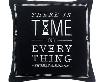 Time Cushion Cover   Travel Quote Decorative Pillow