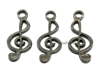 10 pieces - 9x26 mm G Clef Musical treble clef Charms Pendant Findings Gunmetal Black CGB-065-SRR.3