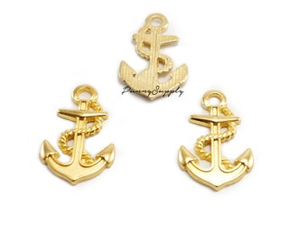 10 pieces - Anchor Charms Pendants Nautical Findings Gold Tone CG-060-SRR.1
