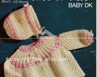 Vintage Knit Baby Jacket and Bonnet emailed  Pattern PDF 013 from PatternPDFShop