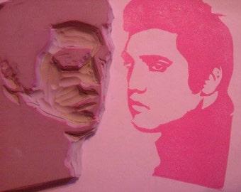 Elvis Hand Carved Rubber Stamp