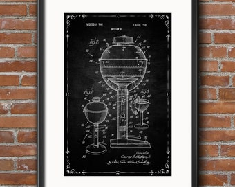Gas Grill Patent Wall Art Poster Gas Grill Patent Print Kitchen Decoration, Digital Download Instant Art Printable