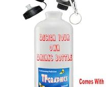 Custom 600ml Aluminium Sports Bottle  -  Printed with your Personalised Design, Personalised Sports Bottle, Drinks Bottle, Custom Bottle,