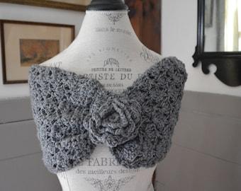 Handmade Crochet Cowl with Flower Button