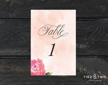 Floral Watercolor Table Numbers | Wedding Table Numbers, Watercolor Wedding Accessories, Custom Table Numbers, Peony Wedding Theme