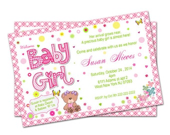 Butterfly Flowers Girl Baby Shower Invitation - Printable