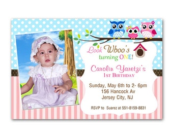 Owl Personalized Birthday Invitations - Printable