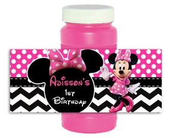 Pink Dots Minnie Mouse bubble label 4oz Wrappers Stickers