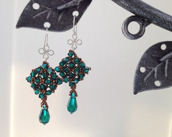 Emerald and Bronze Earrings-Swarovski Crystals, Sterling Silver, Bronze Beads