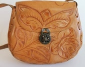 Vintage Tooled Leather Horse Purse Handbag