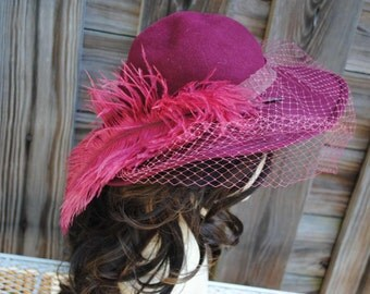 Vintage Michael Howard Fedora Style Hat with Ostrich Feather and Netting