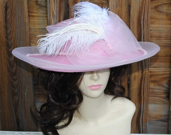 Vintage Pink Church Derby Hat with Feathers and Crinoline Ladies Womans
