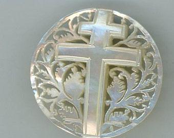 Bethlehem Pearl Cross Button