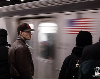 New York Subway - Stylish American Street Photograph by Pro Photographer. Decorative wall art print of a typical NYC urban scene.