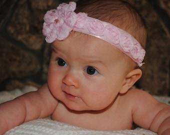 Baby Headband, Newborn Headband, Pink Headband, Flower Headband, Girl Headband, Toddler Headband