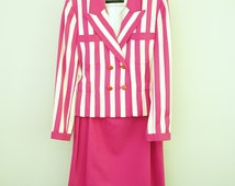 Vintage Louis Feraud Pink Striped Double-Breasted Suit, 2-Piece Suit, Size 4