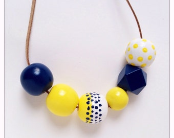 Hand Painted Wood Bead Necklace in Sail Away