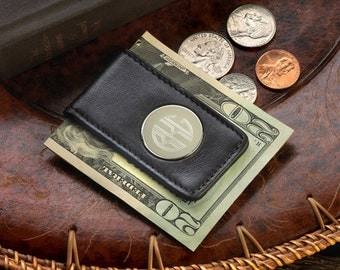 Personalized Black Leather Magnetic Money Clip