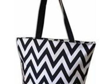 Chevron  Zipper Top Tote Bag with monogram