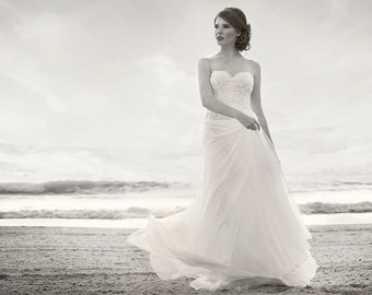 Inessa - silk chiffon, ivory wedding gown, French beaded lace, strapless, sweetheart neckline