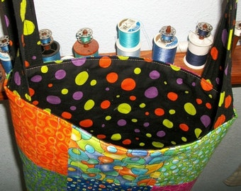 Polka dots Tote Bag Handmade Quilted Patchwork Bright Colors Crossbody Straps