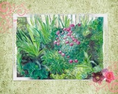 """Note card: based on my watercolor, """"Thelma's Garden"""". Paper and party supplies, Art and Collectibles,  Roses, Gardens, Stationary, art"""