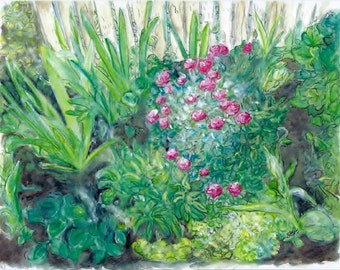 """A Limited Edition Print of my Watercolor """"Thelma's Garden"""". Collectible Art, Watercolors, Wall Art, Painting of Gardens, Floral Painting"""