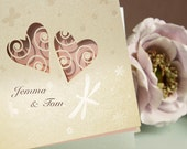 Lace Heart Laser Cut Wedding Invitation With Personalisation And Envelopes