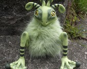 Green Froggle Monster Art Doll Handmade Hand Crafted OOAK Frog Sculpture