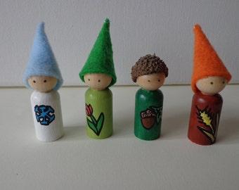 Mini Seasons Gnome Peg Dolls Waldorf Nature Table