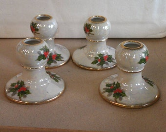Vintage Set of 4 Holly Berry Candle Holders