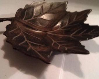Vintage Metal Leaf Tray