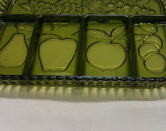 Green Glass Relish Tray