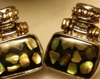 Vintage silver and gold opalescent resin abalone drop stud 80s pierced earrings