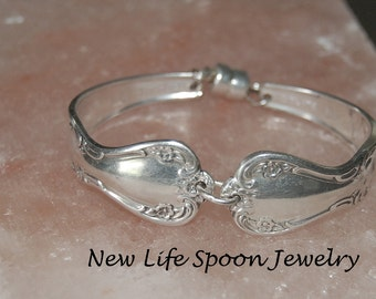"Spoon Bracelet ""Elegant Lady"" Silverware Antique Spoon Jewelry Flatware Bracelet Spoon Handles Handmade Christmas Gift-98"