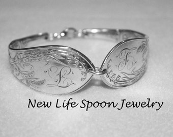 Large Spoon Bracelet Monogramed L Silver Jewelry Vintage Silverware Flatware Spoon Handles Wedding Gift --231