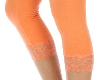 Gray or Peach Lace Capri Spring Leggings